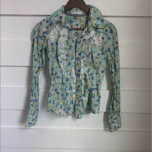 (NWOT) Johnny Was- Floral Embroidered Button Down